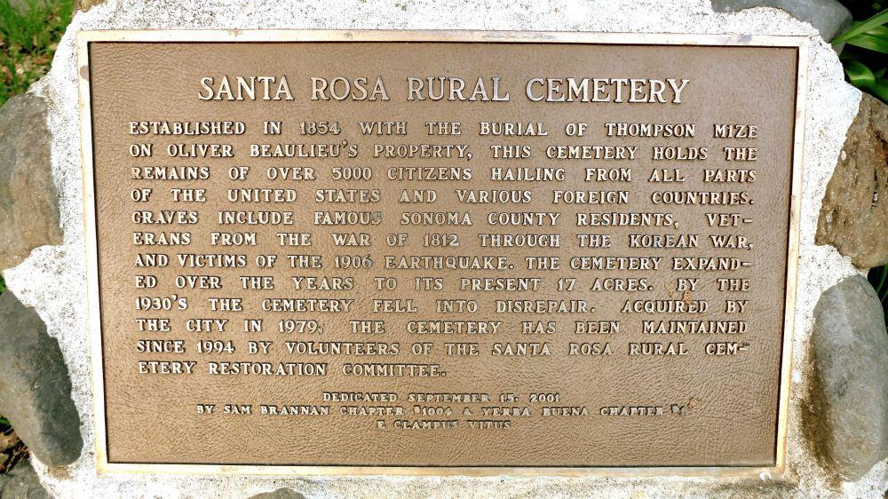 Santa Rosa Rural Cemetery Plaque